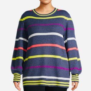 Women's Plus Size Striped Sweater